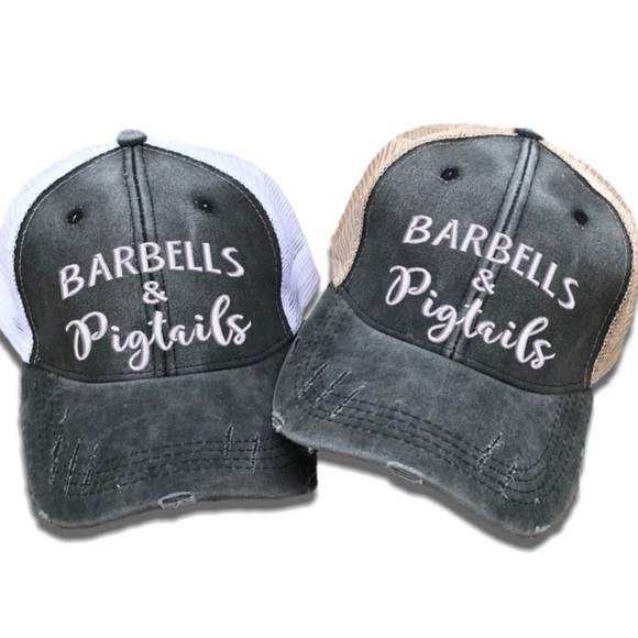 86b77e29c4c Barbells   Pigtails Women s Distressed Trucker Hat